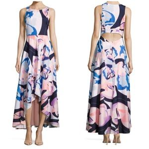 New Nicole Miller High Low Graphic Print Gown 8